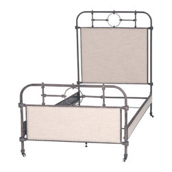 Marco Polo Imports - Robinson Iron Bed, Twin - Vintage style iron bed upholstered in fine ecru linen blend with nail head finishing.