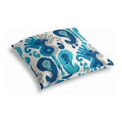 Blue & Aqua Ikat Custom Outdoor Floor Pillow - Pick up a Simple Outdoor Floor Pillow for your next shindig under the sun. Perfect for an outdoor picnic or Moroccan style cabana party. We love it in this oversized outdoor ikat that will make a big (literally!) splash in clean, bright shades of blue, aqua and gray.