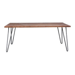DMWR - Fancicle Table - This handmade urban-rustic table has a slim modern profile and metal hairpin legs that would look at home in even the most stripped-down contemporary loft. But there's plenty of drama on top, with that intricate fan-like overlay design of natural grain walnut. Utilitarian, but with a splash of boho decadence, it would make an eclectic coffee table, side table or dining table.