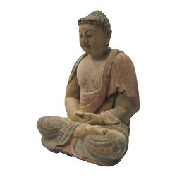 Golden Lotus - Sitting Peaceful Buddha Chinese Wooden Carving Statue - This is a Chinese wooden sitting Buddha statue which is made of solid elm wood.  It is perfect to put at your entrance of hall way.