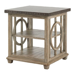Lexington - Lexington Twilight Bay Wyatt Lamp Table 352-952 - Updated casual is evidenced in the hammered stainless steel top with pewter nailhead trim on the edge. The weathered, soft taupe-gray finish on the base is equally interesting marrying curves and lines as design elements.