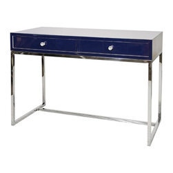 Worlds Away - Worlds Away William Navy Lacquer Desk w/ Stainless Steel Base - Available for Immediate Ship!Navy lacquer desk on polished stainless steel base. Drawers on glides.