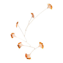 Inova Team-Leaves Copper Coated Steel Mobiles, Nature Inspired-Ginkgo - Windblown Art