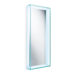 """WS Bath Collections - Speci 15.7"""" x 39.4"""" LED Light Mirror - Speci 5680 Framed Wall-Mount Mirror with LED Lighting, Made in Italy"""