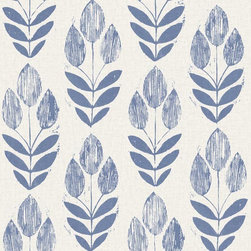 Brewster Home Fashions - Scandinavian Blue Block Print Tulip Wallpaper Bolt - Bring a charming tulip design to walls with this chic block print wall paper. With rich Scandinavian detail and bold graphic influence this whimsical pattern brings an ocean blue hue to your room that's full of enchanting wonder.