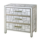 Currey & Co - Currey & Co 3093 Birkhall Silver Granello Decorative Storage Chest - The Currey & Co 3093 Birkhall Silver Granello Decorative Storage Chest has a modern style that meets storage needs and adds design to the home. Commonly utilized in living areas where a tad bit more space to put things is needed, it may be placed in an entertainment room, den or even a bedroom. This three drawer chest is constructed of wood, glass and mirror with a silver Granello finish.