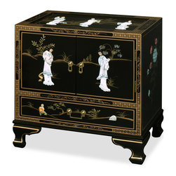 China Furniture and Arts - Black Lacquer Pearl Figure Motif Lamp Table - In a distinctive 18th century style with Chinese figures crafted out of mother of pearl, this elegant lamp table of traditional Chinese dance-of-the-maiden scene is fascinating to look at and practical to use. Designs continue on top and the sides of the table. One drawer and cabinet space behind the two doors provide convenient storage space. Solid brassware ideally matches the gracefulness of the cabinet's sophisticated gold lines. (Assembled.)