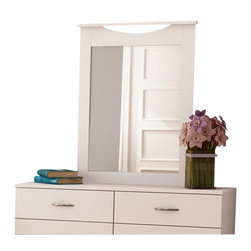 South Shore - South Shore Maddox Vertical Mirror in Pure White Finish - South Shore - Mirrors - 3160122 - The Maddox Vertical Mirror has a laminated particle board frame with a pure white finish. This rectangular mirror has a curved opening at the top for a unique look and feel. The Euro-style Maddox Vertical Mirror is the perfect compliment to the Maddox Double Dresser and adds an elegant finishing touch to your bedroom.