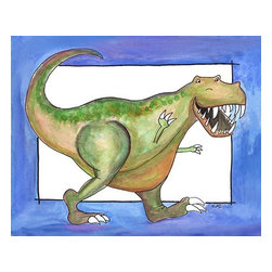 Oh How Cute Kids by Serena Bowman - T Rex, Ready To Hang Canvas Kid's Wall Decor, 16 X 20 - This silly, sweet picture is part of my dinosaurs series.