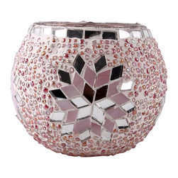 Art-Win Lighting CH11010 Handmade Mosaic Candle Holder, Pink - Handmade in Istanbul, Turkey. Hand-crafted item is produced with glass-on-glass technique. Tradition of centuries is now available for you. Fine handmade mosaic lamps that require years of experience and specialized craftsmanship are carefully manufactured by Art-Win Lighting.