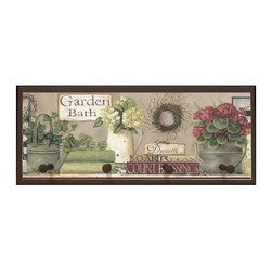 illumalite Designs - Garden Bath Plaque with Pegs - Includes hardware for hanging. Hand painted brown border. Four painted wooden pegs. Ready to be hung. Made from wood. Made in USA. 25.5 in. W x 4 in. D x 10 in. H (4 lbs.)This charming country themed plaque is the perfect addition to any bathroom. This plaque is the ideal size to add a country touch to any wall.