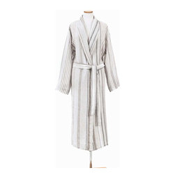 Gradation Linen Robe - To wear a relaxed unisex robe in timeless linen makes coffee on the patio or juleps by the pool as quietly luxurious as breakfast served in bed.  The Gradation Linen Robe is striped with shades of neutral grey, forming an interesting and varied but not aggressive pattern that offers transitional appeal.  The linen fibers are smooth and pleasant to the touch, softly matte to the eye.
