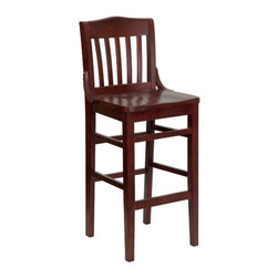 """FlashFurniture - Hercules Series Finished School House Back Wooden Restaurant Bar Stool in Mahoga - Features: -Restaurant chair. -Mahogany wood finish. -School house style back. -1"""" Thick beech wood seat. -Solid European beech hardwood construction. -Mortise and tenon style construction with metal wood screw reinforcements. -Supportive leg braces. -Foot rest. -Plastic floor glides. -Designed for commercial use and suitable for home use. -Heavy duty restaurant bar stools. Specifications: -Dimensions: 44"""" H x 18.5"""" W x 18.75"""" D. -Seat size: 29.5"""" H x 17"""" W x 15.75"""" D. -Back size: 15.75"""" H x 15.75"""" W. -Sold in set of 4 or 8."""