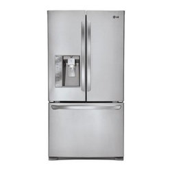 """LG - LFX25991ST 36"""" 24.6 Cu. Ft. Freestanding Counter-Depth French Door Refrigerator - The LG LFX25991ST 246 Cu Ft French door refrigerator in stainless steel three-door counter depth refrigerator can not only stand flush with your countertop to provide a seamless look it39s got the room to store all your family39s favorite foods This ..."""