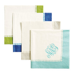 Ballard Designs - Hemstitch Paper Cocktail Napkins - Set of 100 - Add a monogram for a custom touch. Available in 4 colors. Coordinating Cocktail, Luncheon & Dinner size. Imported from Germany. Strong, soft and absorbent, our Hemstitch Napkins are nice enough for a dinner party and strong enough for an outdoor BBQ. Crisply printed on biodegradable triple-ply paper made from managed forests. Hemstitch Napkin features: . . . .