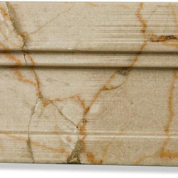 Sample-Novel Crema Marfil Chair Rail Marble Tile Liner Sample - Sample-Novel Crema Marfil Chair Rail Marble Tile Liner Sample   Samples are intended for color comparison purposes, not installation purposes.    -Glass Tiles -