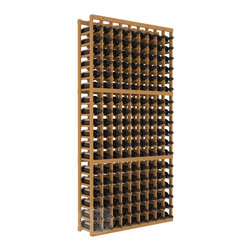 9 Column Standard Cellar Kit in Pine with Oak Stain - A 9 column solution from our most popular style of wine racking. Completely solid assembly to withstand extensive use. We guarantee it. All the edges of our products are softened to ensure you won't get nicks or splinters, like you will from budget brands. You'll be satisfied. We guarantee that, too.