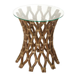 KOUBOO - Hoop Rattan Side Table - Diameter 20 inches x 22 inches high (including glass top).