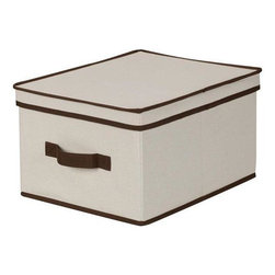 Home Decorators Collection - Trimmed Canvas Storage Box with Lid - These deep, canvas bins are perfect for oddly shaped items and fold flat when not in use. Whether for under-the-bed storage or to organize the shelf space in your closets, these folding, collapsible bins are a wonderful storage solution for your home. Make your storage space more efficient; order yours today. Smooth and sturdy blended canvas storage box provides durable, lasting storage.  Reinforced sides provide stability and stackability.