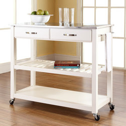 "Crosley - Kitchen Cart with Stainless Steel Top - Constructed of solid hardwood and wood veneers, this mobile kitchen cart is designed for longevity. The handsome raised panel drawer fronts provide the ultimate in style to dress up any culinary space. Two deep drawers are great for holding essential items, such as utensils or storage containers. The adjustable/removable shelf is great for appliances. Remove the shelf completely to allow for storing larger objects. The heavy duty casters provide the ultimate in mobility. Style, function, and quality make this mobile solution a wise addition to your home. Features: -Stainless steel top.-Raised panel drawer fronts.-Adjustable and removable shelf.-Towel bar.-Heavy duty caster for mobility.-Product Type: Kitchen cart.-Counter Finish: Stainless steel.-Hardware Finish (Frame Finish: Black): Brushed Nickel.-Hardware Finish (Frame Finish: Cherry): Antique Brass.-Hardware Finish (Frame Finish: White): Brushed Nickel.-Distressed: No.-Powder Coated Finish: No.-Gloss Finish: No.-Base Material: Hardwood and veneers.-Hardware Material: Steel.-Solid Wood Construction: No.-Exterior Shelves: Yes -Number of Exterior Shelves: 1.-Adjustable Exterior Shelving: No..-Drawers Included: Yes -Number of Drawers: 2.-Push Through Drawer: No.-Dovetail Joints: No.-Drawer Dividers: No.-Drawer Handle Design: Handle.-Silverware Tray : No..-Cabinets Included: No.-Towel Rack: Yes -Removable Towel Rack: No..-Pot Rack: No.-Spice Rack: No.-Cutting Board: No.-Drop Leaf: No.-Drain Groove: No.-Trash Bin Compartment: No.-Stools Included: No.-Casters: Yes -Locking Casters: No.-Removable Casters: No..-Wine Rack: No.-Stemware Rack: No.-Cart Handles: No.-Swatch Available: No.-Commercial Use: No.-Recycled Content: No.-Eco-Friendly: No.-Product Care: Use a soft clean cloth that will not scratch the surface when dusting. Use of furniture polish is not necessary. Should you choose to use a furniture polish, test in an inconspicuous area first. Use of solvents of any kind could damage your furniture's finish. To clean, simply use a soft cloth moistened with lukewarm water, then buff with a dry soft clean cloth..Specifications: -ISTA 3A Certified: Yes.Dimensions: -Overall Height - Top to Bottom: 35"".-Overall Width - Side to Side: 41"".-Overall Depth - Front to Back: 17"".-Width Without Side Attachments: 35"".-Height Without Casters: 32.25"".-Countertop Thickness: 1"".-Countertop Width - Side to Side: 41"".-Countertop Depth - Front to Back: 17"".-Shelving: -Shelf Height - Top to Bottom: 12.25"".-Shelf Width - Side to Side: 37.5"".-Shelf Depth - Front to Back: 17""..-Drawer: -Drawer Interior Height - Top to Bottom: 2.5"".-Drawer Interior Width - Side to Side: 15.75"".-Drawer Interior Depth - Front to Back: 11.5""..-Overall Product Weight: 70 lbs.Assembly: -Assembly Required: Yes.-Tools Needed: Screwdriver (not included) and allen wrench (included).-Additional Parts Required: No.Warranty: -Product Warranty: 90 day limited warranty."