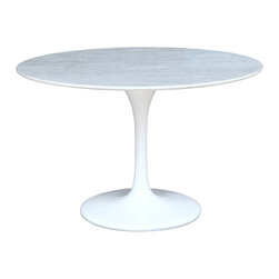 """Lemoderno - Fine Mod Imports  Flower Marble Table, White, 29.5""""h X 48""""w X 48""""d - The Tulip table is a  Marble top, Its base is a heavy molded cast aluminum, while the shell is in reinforced molded fiberglass base This item is a high quality reproduction of the original. Marble Top with lacquered light gloss finish base    Assembly Required"""