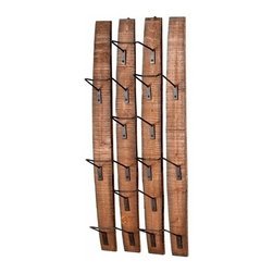 Rustic Wood and Metal Wall Wine Rack - Large - *Large Fresno Wall Wine Holder