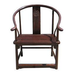 Golden Lotus - Chinese Oriental Small Size Horseshoe Armchar - This is a decently handmade Chinese accent decorative armchair in traditional horseshoes shape. The size is smaller and shorter.
