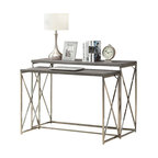 Monarch Specialties - Monarch Specialties 3257 2-Piece Nesting Table Set in Dark Taupe - With its dark taupe reclaimed wood-look tops, this 2 piece console table set gives an exceptional look to any room. Its original oval shaped chromed metal base provides sturdy support as well as a contemporary look. Use this multi- functional set as lamp tables, decorative display tables, or simply as accent pieces, in your living room, hallway or even bedroom.