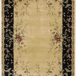 Nourison - Chambord Border Bloom Beige Rug (3'6 x 5'6) - Boldly bordered by a striking frame,a graceful profusion of delicate blooms takes a dramatic turn. This divinely-textured rug subtly shines and shimmers in a sophisticated contrast of beige and black with green and crimson accents.