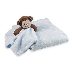 Monkey Blue Polka Dot Plush Baby Blanket Set - Monkey Blue Polka Dot Plush Baby Blanket Set comes with baby blanket and security blanket with monkey attached. 100% polyester. Machine wash warm.