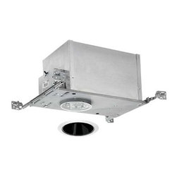 Juno Lighting Group - 4-inch Low-Voltage Recessed Lighting Kit with Black Trim - IC44N/442B-WH - This low-voltage recessed lighting kit features 4-inch insulation-ready housing and a deep cone with a glare-reducing black Alzak� finish and white outside trim. The housing can be completely covered with insulation. It is air-tight which reduces heating and cooling costs. It comes with a thermally protected magnetic transformer. The hangers are expandable up to 25 inches. Alzak� is an anodized, hand-polished aluminum reflector with superior glare reduction. Takes (1) 50-watt halogen MR-16 bulb(s). Bulb(s) sold separately. Dry location rated.