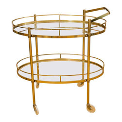 Bar Carts - All original, solid brass bar cart dating from the late 1950's to early 60's. Galleried serving surfaces and fine overall age patina.