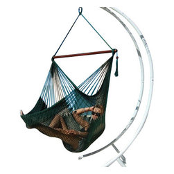 Jumbo Sized Green Weather Resistant Rope Hammock Chair - Hammock chairs bring style and relaxation to any decor. This Jumbo sized green rope hammock chair is hand woven from soft spun polyester. Unlike cotton chairs, they will not rot, mold or mildew, and should last you for years. Woven into the body is an extra long extendable footrest that enables the user to really stretch out. The tropical hardwood spreader bar s a full 47 inches wide giving ample shoulder room for any sized person, and has multiple coats of marine varnish to protect it from the elements. It has a maximum capacity of 275 pounds. This chair hangs easily from one suspension point that is 7.5ft or higher. NOTE: It does not come with stand or mounting hardware.