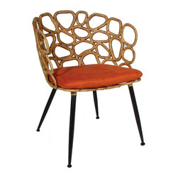 Palecek - Ella Occasional Chair - The Ella occasional chair exudes dramatic retro refinement. Accenting tapered metal legs and a simple cushion, the seat's split rattan frame forms playful open ovals. Cushion available in several fabrics