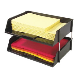 DEFLECTO - DEFLECTO 582704 Industrial Tray Side-Load Stacking Tray with Risers, 2 pk - Oversized tray;Capacity to hold over 1,500 sheets of paper, catalogs, directories & large files;Break resistant