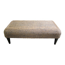 Bahari - Water Hyacinth Rectangular Coffee Table - Water Hyacinth Rectangular Coffee Table.  Top has water hyacinth woven pattern with midnight blue color dyed with polyurethane matte finish.  Legs are solid teak wood in dark matte.