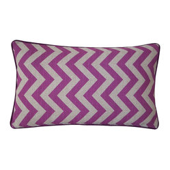 JITI - Small River Purple Pillow - Got a passion for purple? This zigzag print cotton accent pillow is a great way to incorporate lively purple into your living room or bedroom decor without going overboard.