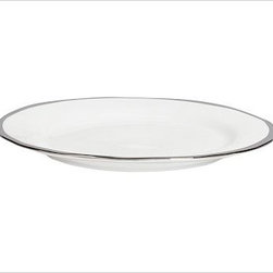 """Caroline Porcelain Dinner Plate, Set of 4, Silver - Make a celebration even more memorable with a thoughtful gift. Handcrafted with gently uneven rims, our new Caroline Registry dinnerware has understated glamour that's just right for both formal and casual settings. We've wrapped it in a beautiful gift box so it's ready for giving on any special occasion. Dinner Plate: 11"""" diameter, 1"""" high Salad Plate: 8.5"""" diameter, 1"""" high Bowl: 9"""" diameter, 2"""" high; 5.5 fluid ounces Cup: 4.5"""" wide x 3.5"""" deep x 3"""" high Saucer: 6"""" diameter Made of porcelain with a glazed finish. Silver trim. Set of 4, choose dinner plate, salad plate, or cup-and-saucer set. Packaged in a beautiful PB storage box. Dishwasher-safe. Read more on our blog about the inspiration behind this product."""