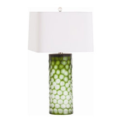 Brand Fern Green Honeycomb Etched Glass Lamp - Adding a bold accent color is always welcome in a neutral room. We would use a pair of these lamps in a subdued master bedroom to add a punch of excitement.