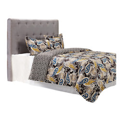 """300 Thread Count Cotton Midnight Duvet Cover Set - Full/Queen - The Midnight Duvet features a florid paisley pattern consisting of blue, yellow, and brown on a black background. This duvet cover set is sure to please and add style and color to your bedroom. Set includes: (1) Duvet Cover 90x92"""" and (2) Pillow Shams 20x26""""."""