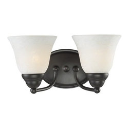 Z-Lite - Z-Lite 2116-2V Athena 2 Light Bathroom Vanity Light - With the delightful glow from its white mottle shades combined with the fixture's bronze finish, this vanity light fixture brings a new level of charm to any space. Specifications: