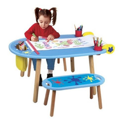 "ALEX Toys - Little Hands Kids' 3 Piece Table and Bench Set - The perfect art table for a young artist or two! Comes with 2 benches, paper roll holder and an 18"" x 75' roll of white drawing paper, paper cutter, canvas storage bag and 2 recessed cup holes for the 2 cups that keep markers, crayons and brushes tidy. Tabletop is also a chalkboard. Oppenheim Toy Portfolio Platinum Award. Features: -Tabletop doubles as a chalkboard. -Fits one or two kids; includes 2 benches. -Includes paper roll holder, 75' of 18"" white drawing paper, paper cutter and canvas storage bag. -2 Recessed cup holders and 2 storage cups included. -Suitable for Ages: 3+. -Bench dimensions: 11"" H x 23.5"" W x 10"" D. -Table dimensions: 18"" H x 49"" W x 29.5"" D. -Awards: Oppenheim Toy Portfolio Platinum Award."