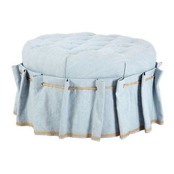 Used Blue Tufted Circle Ottoman with Grommet Skirt - This baby blue round tufted ottoman has fabulous button details. Finished in Romo Mayfair Cloud fabric and trimmed in hemp rope.