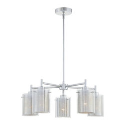 George Kovacs - Grid II 5-Light Chandelier - Light on a grid reflects high style. This modern lighting of five lights and outer clear glass will demonstrate your good taste and appreciation for innovative design.