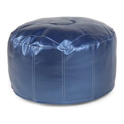 Howard Elliott Shimmer Sapphire Foot Pouf Ottoman - Our Pouf Foot Ottomans are a great add on to any decor. They work as a foot rest or extra seating. They are filled with polyester fiber and recycled EPS filler. Cover is 100% polyurethane metallic faux leather and removable for easy care.