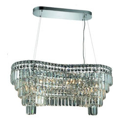 Lighting By Pecaso - Chantal Hanging Fixture L32 W13 H13 Lt:10 Chrome Finish - ChainWire Incuded  6 ft, Bulb Type E12, Bulb Wattage 60, Max Wattage 840, Voltage 110V125V, Finish Chrome, UL  Ulc Standard  YES, UL  Ulc Standard  YES