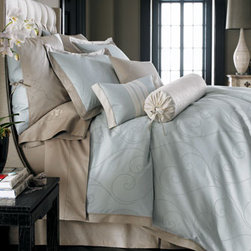 Horchow - Traditional Duvet Covers - Embroidered dots create a scroll pattern on these elegant pale blue bed linens made of 320-thread-count cotton sateen with embroidered eyelash technique. Imported.Duvet covers and standard and king shams are framed with contrasting tan trim to match the tailored dust skirts with 18 drop.Embroidered European shams in tan and an array of accent pillows complete the look.Ivory bolster pillow has blue scroll embroidery; 8 x 30.Blue/ivory boudoir pillow with vertical stitching; 12 x 18.Tan pillow with embroidery; 18Sq.Spot clean pillows; dry clean all others.