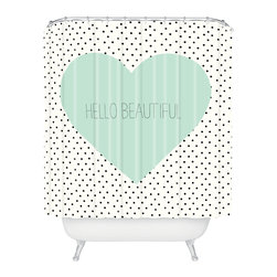 DENY Designs - Allyson Johnson Hello Beautiful Heart Shower Curtain - Who says bathrooms can't be fun? To get the most bang for your buck, start with an artistic, inventive shower curtain. We've got endless options that will really make your bathroom pop. Heck, your guests may start spending a little extra time in there because of it!