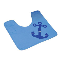 Printed Microfiber Toilet Contour Bath Rug Key West Blue - This printed microfiber toilet contour bath rug Key West is 100% polyester. Ultra-soft touch and sophisticated in any toilet with its maritime patterns, this bath rug prevents slips with its PVC non-skid backing. Machine wash cold and no dryer. Width 17-Inch and length 20-Inch. Indoor use only. Color blue. Add underfoot softness and a perfect finishing touch to your bathroom decor with this trendy microfiber bath rug! Complete your Key West decoration with other products of the same collection. Imported.