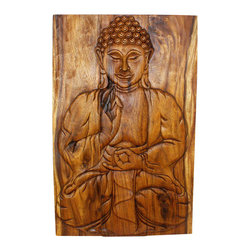 Kammika - Buddha Sakyamuni Seated Wall Panel 24 x 36 Wood With Livos Walnut Oil Finish - Our Sustainable Monkey Pod Wood Sakyamuni Seated Buddha Wall Panel 24 inch width x 36 inch height in Eco Friendly, Natural food-safe Livos Walnut Oil Finish is a unique, handmade environmentally friendly work of art. This detailed carving is a rendition of the Enlightened One or Awakened One from the Himalayan foothills commonly known as Sakyamuni. His image is simultaneously uplifting and relaxing. Discover the calming, inspiring effect of Buddha when you display this wall panel which has been carved from joining panels. In order to not waste wood, the nose is a separate piece that is attached by screws on the back side. The panel has 2 embedded flush mount Keyhole hangers for a protruding screw from your wall. Hand carved by craftspeople in Thailand, these are made of wood grown specifically for the woodcarving industry. Rubbed in rich Livos Walnut Oil creates a water resistant and food safe finish. These natural oils are translucent, so the wood color and grain detail is highlighted and shows through in medium to dark Walnut brown tones that will darken as the wood ages. Polished to a matte finish, there is no oily feel and cannot bleed into carpets. Hand crafted from a sustainable Monkey Pod wood species, we make minimal use of electric hand sanders in the finishing process. All products are dried in solar and or propane kilns. No chemicals are used in the process, ever. After each piece is carved, kiln dried, sanded, and hand rubbed with Livos Walnut oil, they are packaged with cartons from recycled cardboard with no plastic or other fillers. The color and grain of your piece of Nature will be unique, and may include small checks or cracks that occur when the wood is dried. Sizes are approximate. Products could have visible marks from tools used, patches from small repairs, knot holes, natural inclusions or holes. There may be various separations or cracks on your piece whe